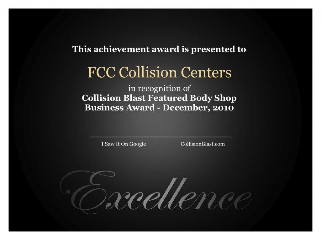 Collision Blast Featured Body Shop Award FCC Collision Centers December 2010