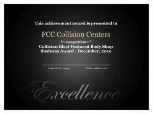 Collision Blast Featured Body Shop Award FCC Collision Centers December 2010